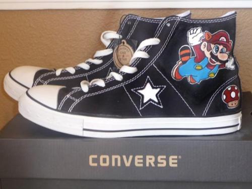 storlek 7 ny hög färska stilar Super Mario Bros 3 Converse Shoes